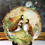 """13.5"""" """"Dubois"""" signed Hand Painted Limoges France Charger/Plate with the gaming birds, ca 1900-1920s"""