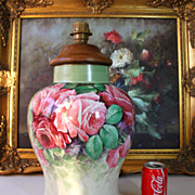huge hand painted Limoges Vase/ Lamp with the roses
