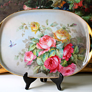 "16.4"" Limoges tray/ platter hand painted with the roses, artist signed, 1900s-1930s"