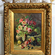 "Fantastic late 19th century oil painting on canvas, ""Still life with flowers and fruits"", signed by Céline Genyn"","