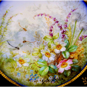 "11'' Hand-painted Limoges France Gold Encrusted Raised Gilt Cobalt Blue charger/ plate, artist signed ""Golse. Mariay"", 1880"