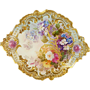 "15.35"" Large ""A. Bronssillon"" signed, Exquisite Limoges Hand-painted rose Rococo Charger/Plaque with gold enameled designs, 1887-1904"