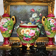 """Limoges France Hand-painted Porcelain Mantelpiece of one Jardiniere and two Vases/ urns, artist signed """" Gandois. M"""", 1914-- 1930s and after"""