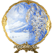 "14.25"" large Limoges France hand-painted charger/ plat with raised gilt 1899-1913 in serene shades of blue and white, 1899- 1913"