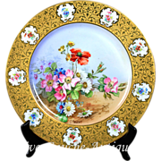 """10.75'' Limoges France hand-painted charger, heavy gold encrusted raised gilt, artist signed """"L. RABY"""", 1900-1932"""