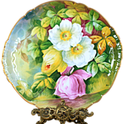 """14"""" huge Limoges France charger/ tray, signed """"Bar"""", hand-painted white/ pink/ yellow roses reflecting water, 1894 to 1931."""