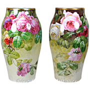 "Rare pair of 13'' tall Limoges France hand-painted roses vases, artist signed "" Golse"", T & V 1892-1907"