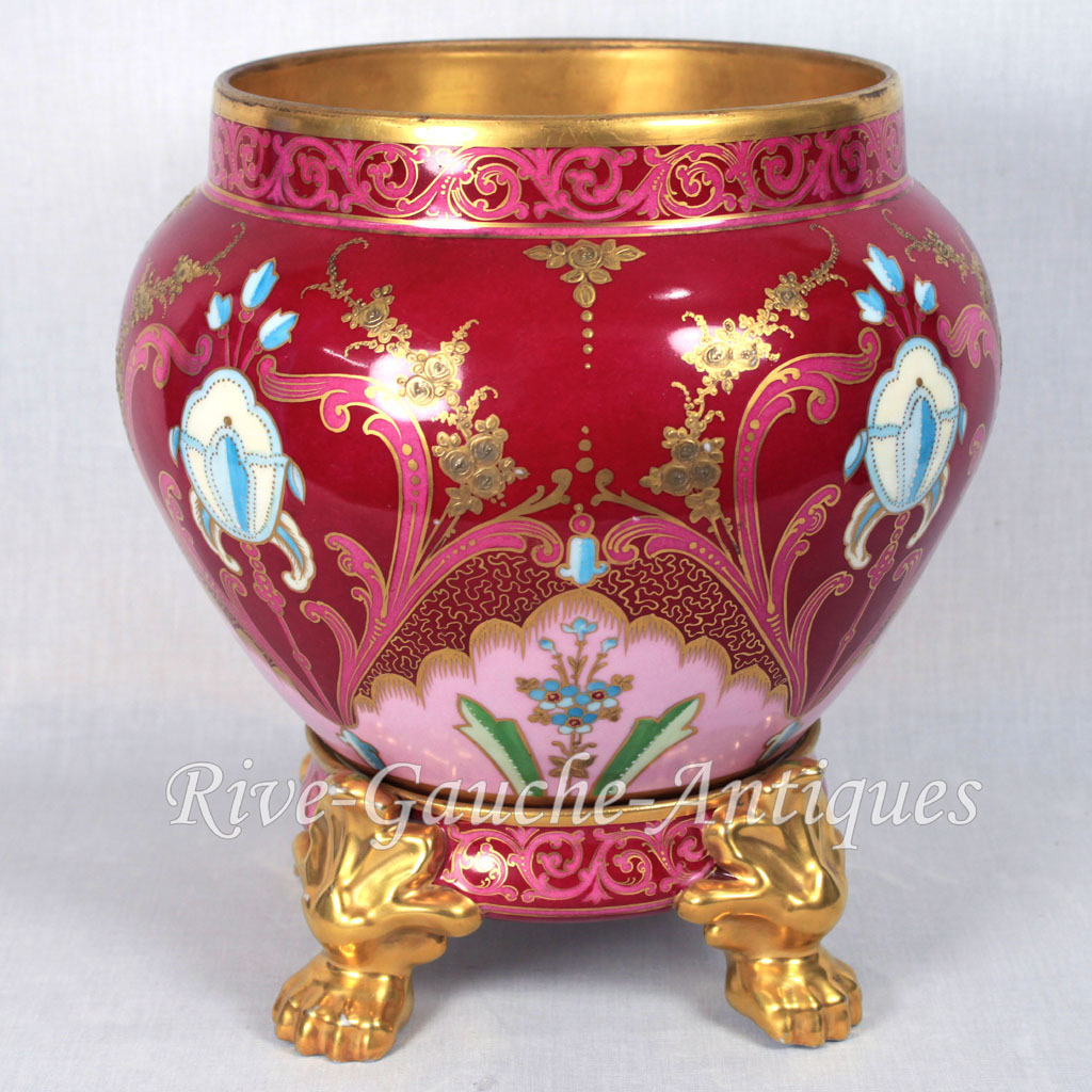 limoges france hand painted jardiniere cache pot on separate base from rive gauche antiques on. Black Bedroom Furniture Sets. Home Design Ideas