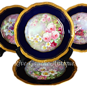 "Museum quality ~ Set of 4 hand-painted Limoges France cobalt blue chargers, raised gold border, artist signed "" J. Barbarin"", Circa 1900"