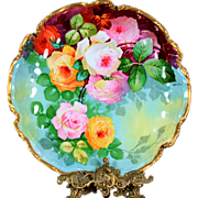 "13.6'' Limoges France hand-painted charger with the roses, artist signed ""Thuillier"", 1891-1914"