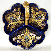 "12 "" Limoges France cobalt blue divided serving piece/ dish/ charger, three sections with scrolled handle; gold paste; from 1876 to 1915"