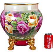 14'' tall Huge Limoges France Jardiniere/cache-pot with hand painted colorful roses on separate base with claw feet, 1890-1932