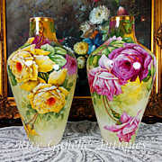 """Rare pair of 13.5'' tall Limoges France hand-painted roses vases, artist signed """"F. DARTIGEAS """", W. G. &Co. 1900-1932"""