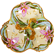 "11.75"" Limoges France hand-painted divided serving piece/ dish/ charger, three sections with gold scrolled handle; artist signed ""Carly"", from 1908 to1937"