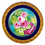 "Limoges France Hand painted Roses, Gold Encrusted Raised Gilt Cobalt Blue charger, artist signed ""Leroussaud"", 1900-1932"