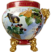 11.5'' tall Limoges hand-painted Jardiniere/cache-pot with elephant head handles on separate base, Paw/Claw Feet, artist signed, 1890 to 1932