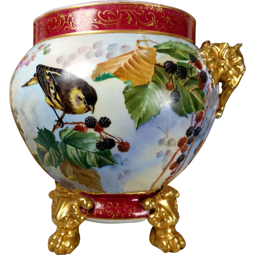 11 5 39 39 tall limoges hand painted jardiniere cache pot with elephant from rive gauche antiques on. Black Bedroom Furniture Sets. Home Design Ideas