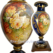 "28"" tall ~ ONE OF A KIND! Museum Masterpiece ~ Fabulous Limoges Hand Painted Vase with exquisite raised gold paste and enameling~ Breathtaking ROSES on two sides~ artist signed ""Marcedet"" 1900s"