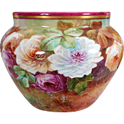 Limoges France hand-painted Jardiniere/cache-pot with colorful roses, a