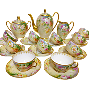 "WOW!! 23 pieces of French Limoges Hand-painted Roses Tea/ coffee Set, heavy gold decoration, artist signed ""Marcedet Limoges"", 1909-1938"