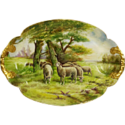 "20.5'' long huge Limoges France hand-painted sheep tray/ platter, artist signed "" Henry Limoges"", 1894 to 1957"