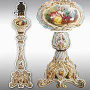 """28.35"""" tall large and rare hand painted French porcelain Lamp, late19th to early 20th Century."""
