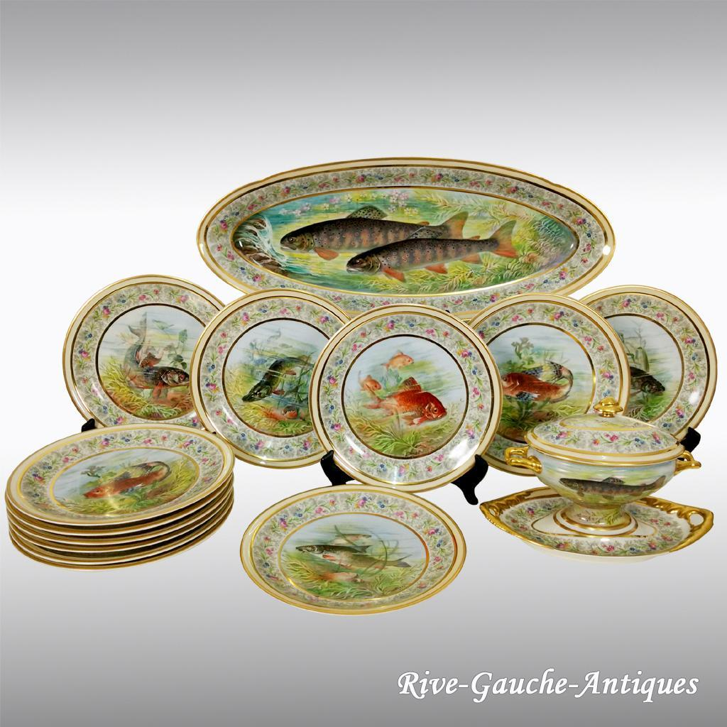 French Limoges Porcelain Fish Serving Set of 13 pieces 1 tray 1  Mirabeau \u0026 Rive-Gauche Antiques | Ruby Lane & French Limoges Porcelain Fish Serving Set of 13 pieces 1 tray 1 ...