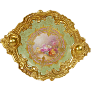 "15.35"" Exquisite Large Limoges Rococo Charger/Plaque with Gold Border and Handles, and a Central Cartouche of Gorgeous Hand-painted Roses, 1887-1904"