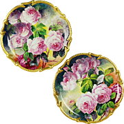 """Rare pair of 16.2"""" large Limoges France  hand-painted roses platters/ trays/ wall plaques, ornate gold Border, artist signed """"F.CHALARD/ LIMOGES"""", 1920s"""
