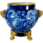 "11.8"" tall Large Limoges hand-painted Jardiniere/cache-pot with elephant head handles on separate base, Paw/Claw Feet, Cobalt & Gold gilt with hand painted roses, artist signed ""BARNY"""