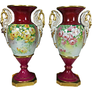 Pair of Limoges France antiques hand-painted vases, bolted base, with the handles in the form of Swan, artist signed, 1920s