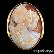 "Large shell cameo 18k gold brooch/ pendant ---""Athena with her mother Metis"""