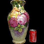 """15.75"""" tall large Limoges France hand-painted rose vase, artist signed """"Henry Limoges""""."""