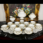 1862-1900 Antique large Limoges France Tea/ Coffee Set of 27-pieces in White & Gold