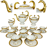 Limoges France Large Tea/ Coffee Set of 23-pieces in White & Gold, etched gold, in the form of Swan, 1930s