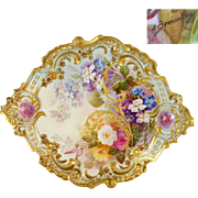 """15.35"""" Large """"A. Bronssillon"""" signed, Exquisite Limoges Hand-painted rose Rococo Charger/Plaque with gold enameled designs, 1887-1904"""