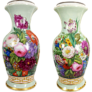"""21"""" tall huge Exquisite Old Paris Porcelain French hand-painted flowers Vase/ Lamp ~ Museum Quality painting~ 1880s"""