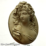 14K gold Rare Antique Museum Quality large 3D-high-relief caved Lava cameo brooch