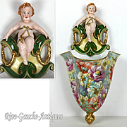 "14.5"" tall hand-painted Wall Vase with figural angle"
