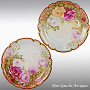 "13.4"" large Pair of Limoges France hand-painted rose chargers with white enamel, artist signed, 1910"