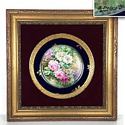 """""""L. Dubois"""" signed Limoges France hand-painted rose charger, cobalt blue & gold rim, 1890s – 1900s."""