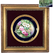 """L. Dubois"" signed Limoges France hand-painted rose charger, cobalt blue & gold rim, 1890s – 1900s."
