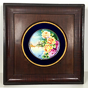 Limoges France hand-painted rose charger framed, cobalt blue & gold rim, artist signed, 1890s – 1900s.