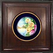 Limoges France hand-painted rose charger framed, cobalt blue & gold rim, artist signed, 1890s – 1900s.