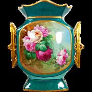 """Limoges France hand-painted rose vase, artist signed """"Martial. Gandois"""""""