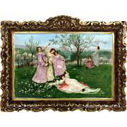 "13.75"" long Limoges France Hand Painted wall plaque/ plate, artist signed, 1891-1914"
