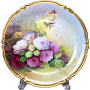 "13.2"" large Limoges France hand-painted rose charger/ plat, 1909-1937"