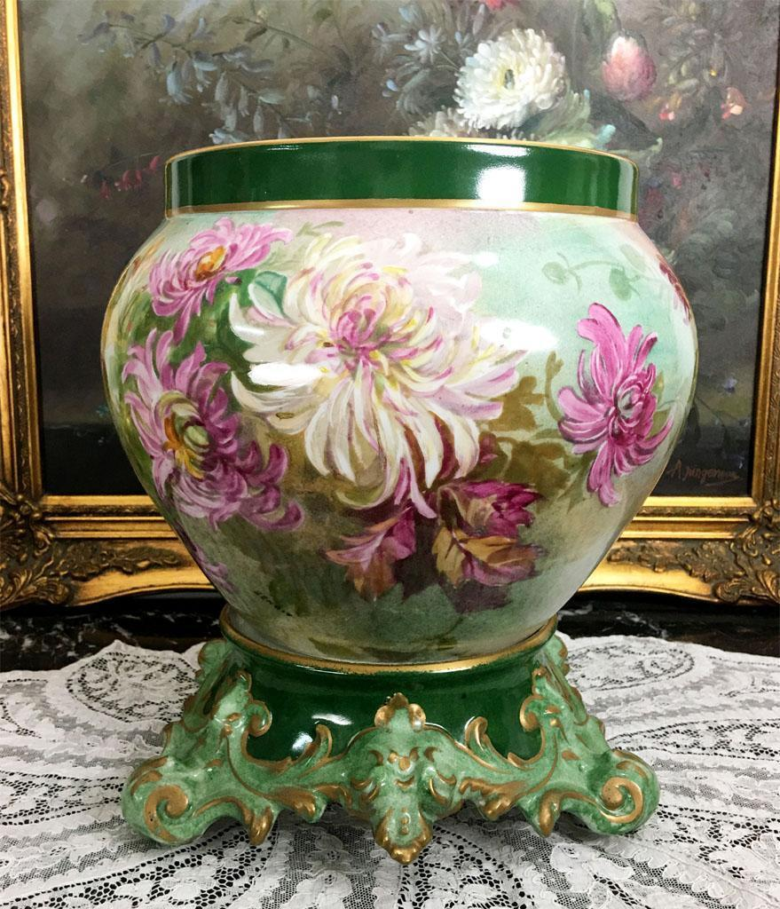 large limoges jardiniere cache pot with hand painted colorful from rive gauche antiques on ruby lane. Black Bedroom Furniture Sets. Home Design Ideas