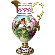Limoges France Hand-painted Ewer/ vase with bird and rose, artist signed, 1920s