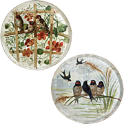 "11"" large Pair of Limoges France hand-painted birds chargers, artist signed 1913 and 1914"